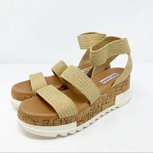Steve Madden Bandi Platform Sandals 7.5 Natural
